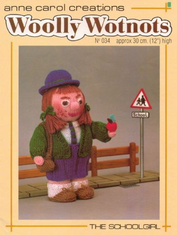PDF Digital Download Vintage Knitting Pattern Woolly Wotnots ​​​​​​Schoolgirl Soft Body Doll Toy